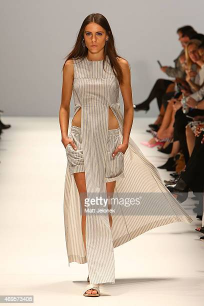 A model walks the runway the Gary Bigeni show at MercedesBenz Fashion Week Australia 2015 at Carriageworks on April 13 2015 in Sydney Australia