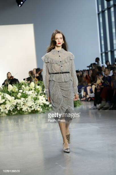 A model walks the runway to present the Calvin Luo Spring/Summer 2019 collection during New York Fashion Week at Spring Studios Manhattan