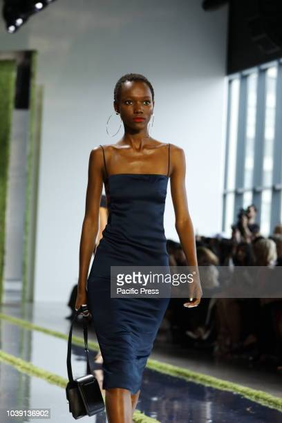 Model walks the runway to present the Cushnie Spring/Summer 2019 collection during New York Fashion at Spring Studios, Manhattan.