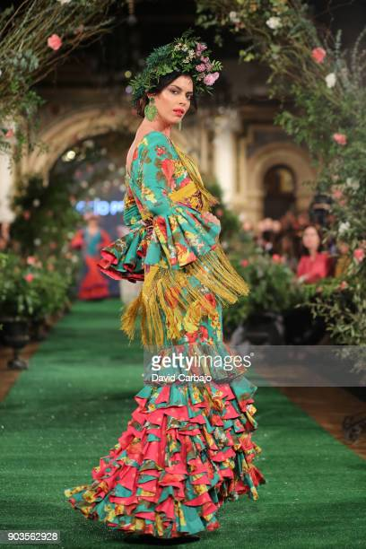 A model walks the runway We Love Flamenco 2018 with designs by Rocio Peralta on the first day of the sixth edition on January 10 2018 in Seville Spain