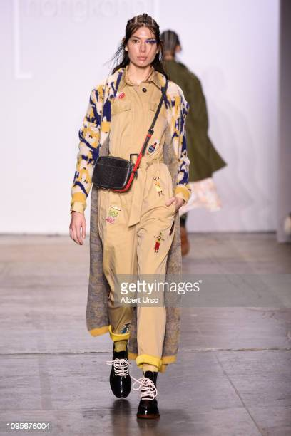 A model walks the runway wearing 112 MountainYam for the Fashion Hong Kong FW19 Collections fashion show during New York Fashion Week The Shows at...