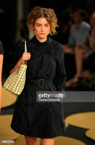 Model walks the runway wearing 3.1 Phillip Lim Spring 2008 during Mercedes-Benz Fashion Week at the New York Public Library, Celeste Bartos on...