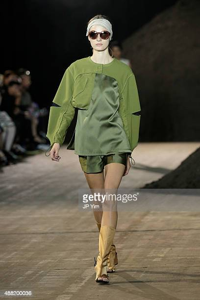 A model walks the runway wearing 31 Phillip Lim Spring 2016 during New York Fashion Week at Pier 94 on September 14 2015 in New York City