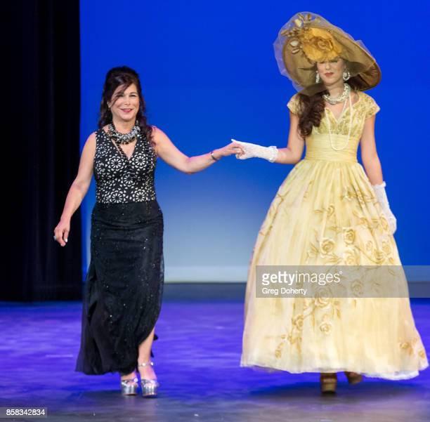 A model walks the runway wearing a Clares Collection design by Rita Mezrahi at the Metropolitan Fashion Week Closing Night Gala at Arcadia Performing...
