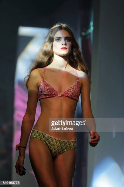 A model walks the runway wearing a creation by La Bobette during the 10th '48h Maisons De Mode' fashion show on September 15 2017 in Lille France