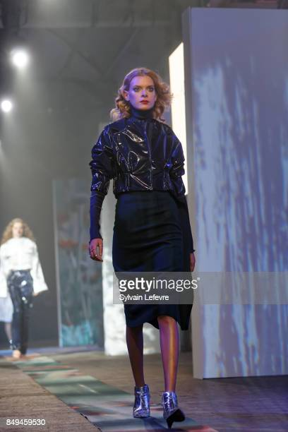 A model walks the runway wearing a creation by Laila Soares during the 10th '48h Maisons De Mode' fashion show on September 15 2017 in Lille France