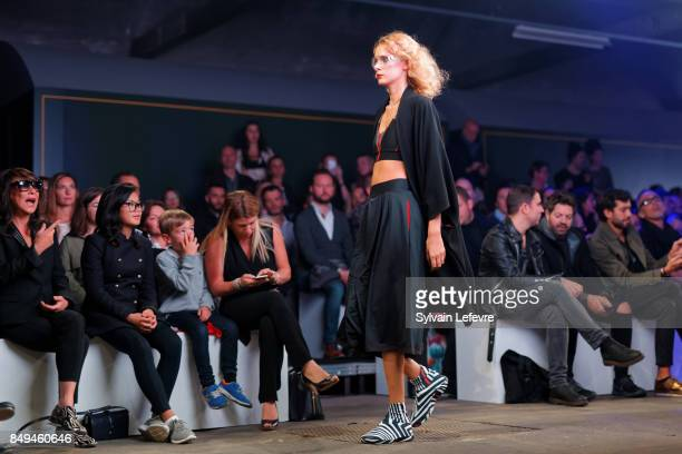A model walks the runway wearing a creation by Minirime during the 10th '48h Maisons De Mode' fashion show on September 15 2017 in Lille France