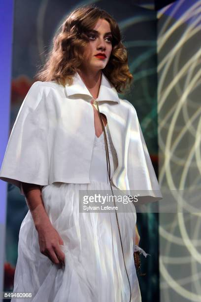 A model walks the runway wearing a creation by Orlane Herbin during the 10th '48h Maisons De Mode' fashion show on September 15 2017 in Lille France