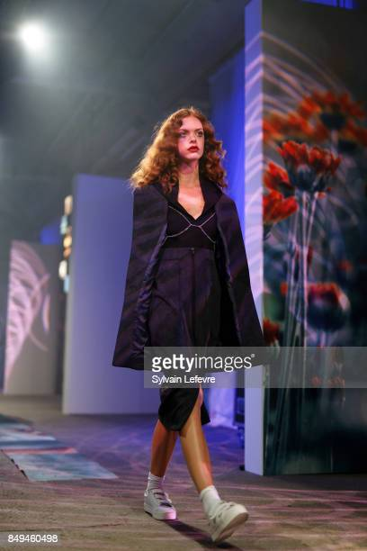 A model walks the runway wearing a creation by Sainte Courtisane during the 10th '48h Maisons De Mode' fashion show on September 15 2017 in Lille...