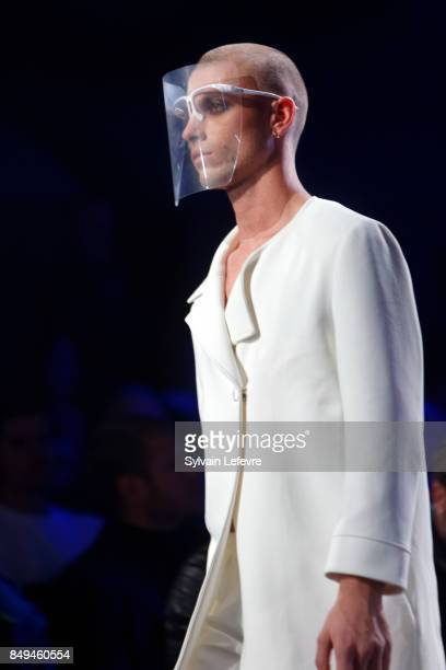 A model walks the runway wearing a creation by Yannic Hong during the 10th '48h Maisons De Mode' fashion show on September 15 2017 in Lille France