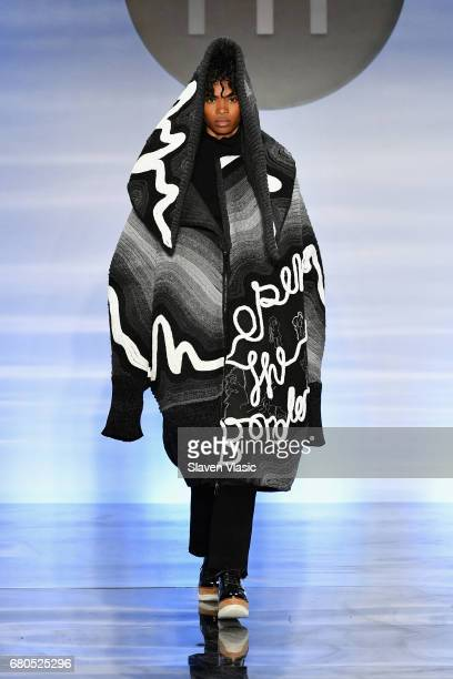A model walks the runway wearing a look by Celin Cardoza Diaz at the 2017 Future of Fashion runway show at the Fashion Institute of Technology on May...