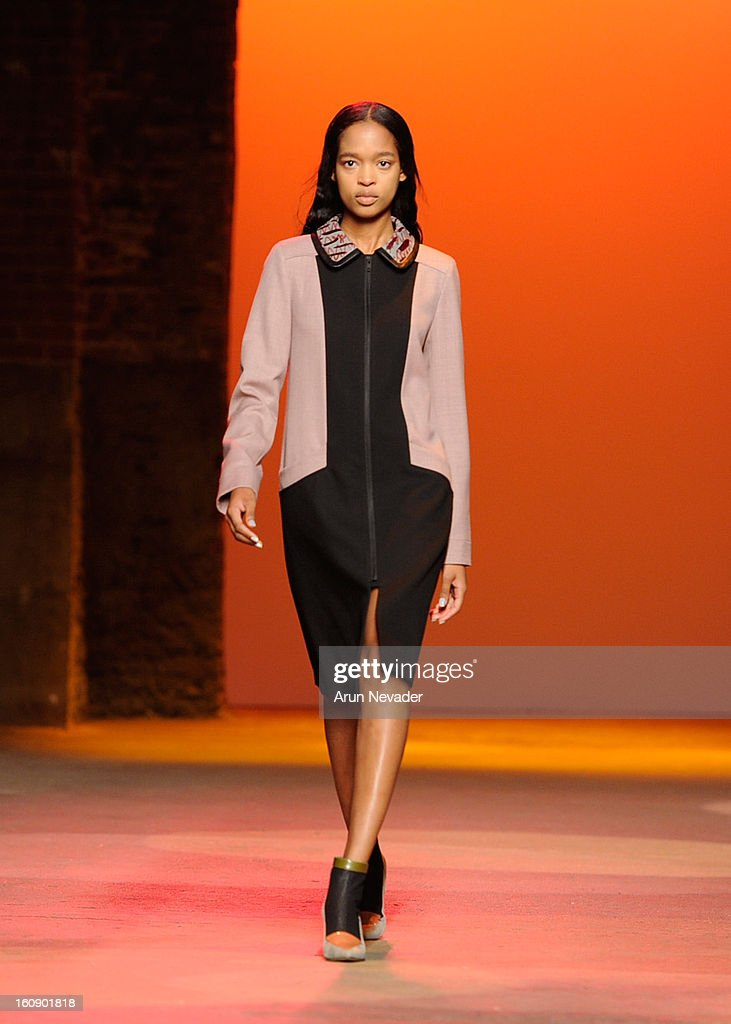 A model walks the runway wearing a nail design created by CND for Creatures of the Wind: New York Fashion Week Fall/Winter 2013 at Eyebeam Gallery on February 7, 2013 in New York City.