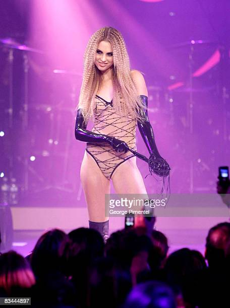 A model walks the runway wearing Agent Provocateur's spring 2009 collection at the LG Fashion Fusion Closing Night Gala at Nathan Phillips Square on...