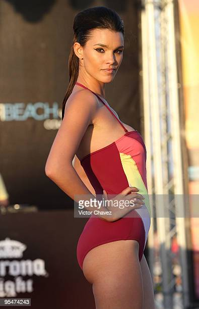 A model walks the runway wearing Alejandra Quesada Spring Summer 2010 during the Winter Beach 2009 on December 28 2009 at Mamita's beach in Playa del...