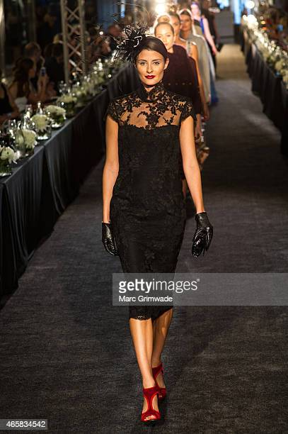A model walks the runway wearing Alex Perryi at the launch of the Autumn Winter Fashion Designer Showcase at Indooroopilly Shopping Centre on March...