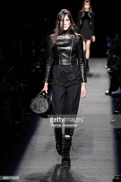 Model walks the runway wearing Alexander Wang during Mercedes-Benz Fashion Week in New York at Pier 94 on February 14, 2015 in New York City.