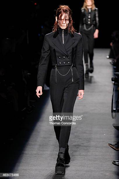 A model walks the runway wearing Alexander Wang during MercedesBenz Fashion Week in New York at Pier 94 on February 14 2015 in New York City