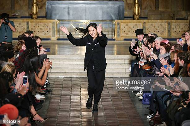 A model walks the runway wearing Alexander Wang Fall 2016 at St Bartholomew's Church on February 13 2016 in New York City