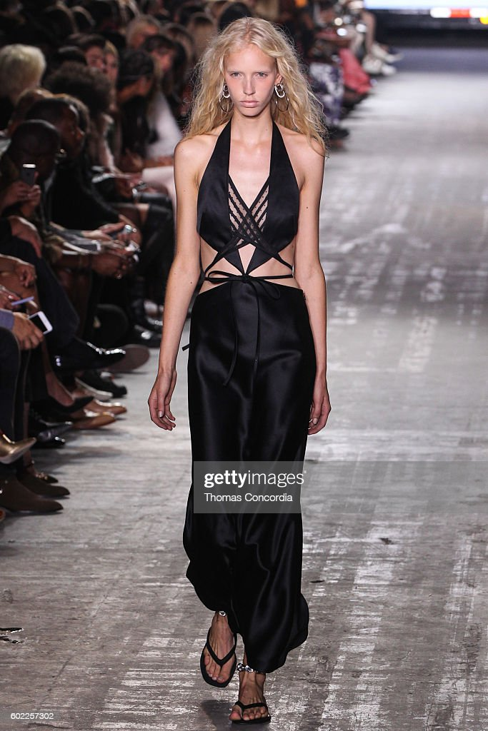 A model walks the runway wearing Alexander Wang Spring 2017 at The Arc, Skylight at Moynihan Station during New York Fashion Week on September 10, 2016 in New York City.