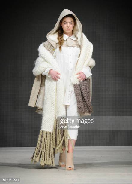 Model walks the runway wearing Alicia A. Perrillo at Vancouver Fashion Week Fall/Winter 2017 at Chinese Cultural Centre of Greater Vancouver on March...