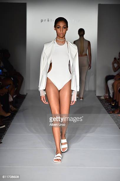 A model walks the runway wearing Amanda Maria at the PretAPorter show during New York Fashion Week September 2016 on September 11 2016 in New York...