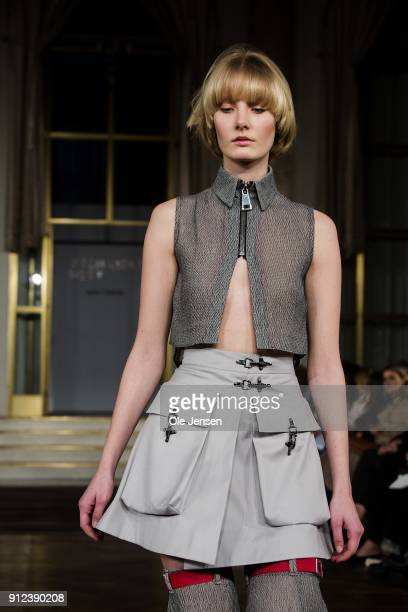 A model walks the runway wearing an outfit by designer Kara Kurani from Denmark at Designer's Nest award show for young designers during Copenhagen...