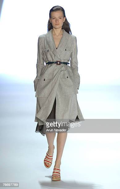 A model walks the runway wearing Anne Klein Spring 2008 during MercedesBenz Fashion Week at the Promenade Bryant Park on September 12 2007 in New...