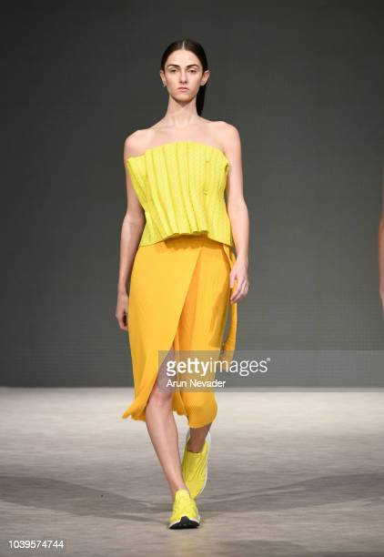 A model walks the runway wearing Annika Klaas at Vancouver Fashion Week Spring/Summer 19 Day 7 on September 23 2018 in Vancouver Canada