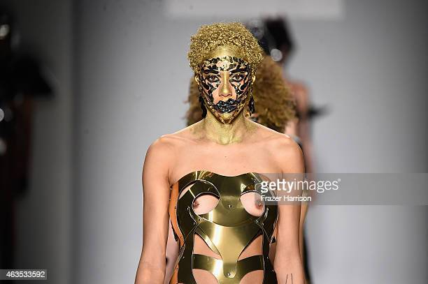 A model walks the runway wearing Antonio Urzi collection at the FTL Moda fashion show during MercedesBenz Fashion Week Fall 2015 at The Salon at...