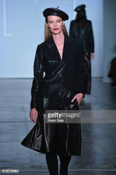 A model walks the runway wearing Anveglosa for Fashion Hong Kong during New York Fashion Week The Shows at Industria Studios on February 9 2018 in...