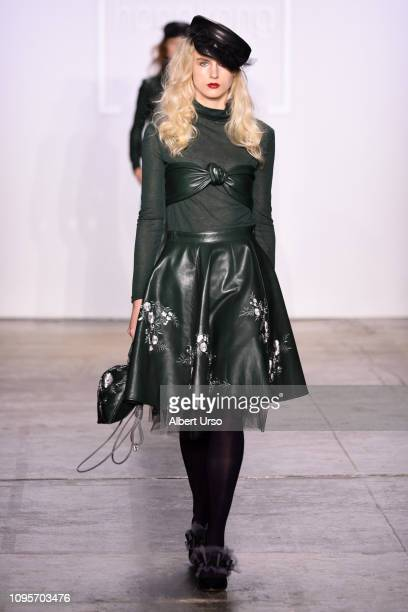 A model walks the runway wearing Anveglosa for the Fashion Hong Kong FW19 Collections fashion show during New York Fashion Week The Shows at...