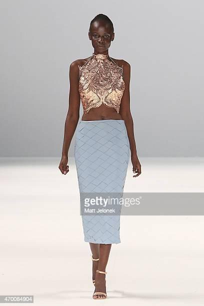 A model walks the runway wearing Any Step during the Raffles International Showcase show at MercedesBenz Fashion Week Australia 2015 at Carriageworks...