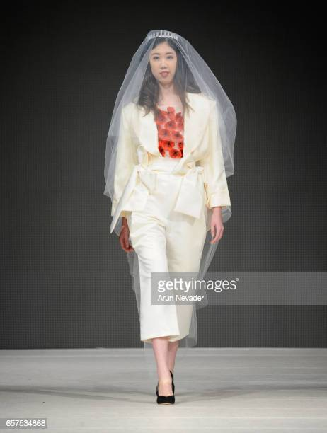 A model walks the runway wearing Arantxa Morcillo at Vancouver Fashion Week Fall/Winter 2017 at Chinese Cultural Centre of Greater Vancouver on March...