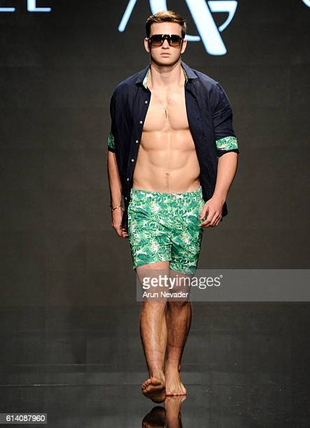 A model walks the runway wearing Argyle Grant at Art Hearts Fashion Los Angeles Fashion Week presented by AIDS Healthcare Foundation on October 11...