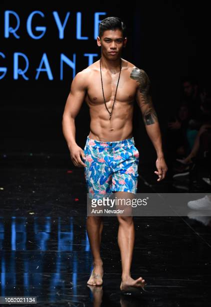 A model walks the runway wearing Argyle Grant at Los Angeles Fashion Week Powered by Art Hearts Fashion LAFW SS/19 at The Majestic Downtown on...