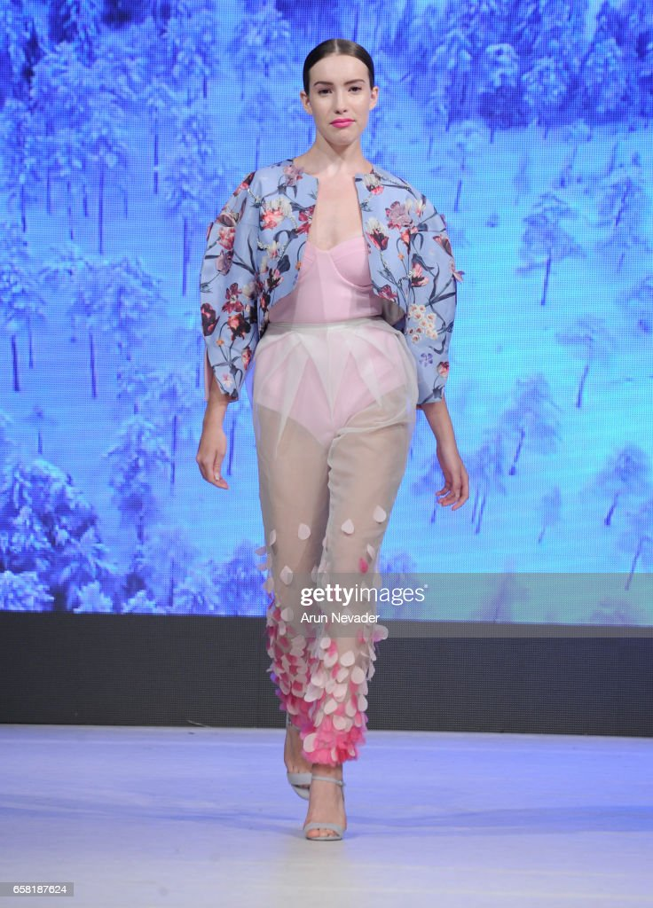 A model walks the runway wearing Armine Ohanyan at Vancouver Fashion Week Fall/Winter 2017 at Chinese Cultural Centre of Greater Vancouver on March 26, 2017 in Vancouver, Canada.