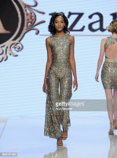 A model walks the runway wearing Arzamendi Style at Los Angeles Fashion Week SS18 Art Hearts Fashion LAFW on October 8 2017 in Los Angeles California