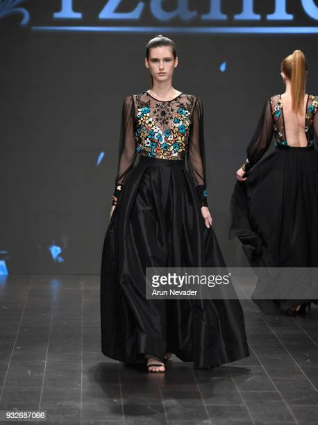 A model walks the runway wearing Arzamendi Style at Los Angeles Fashion Week Powered by Art Hearts Fashion LAFW FW/18 10th Season Anniversary at The...