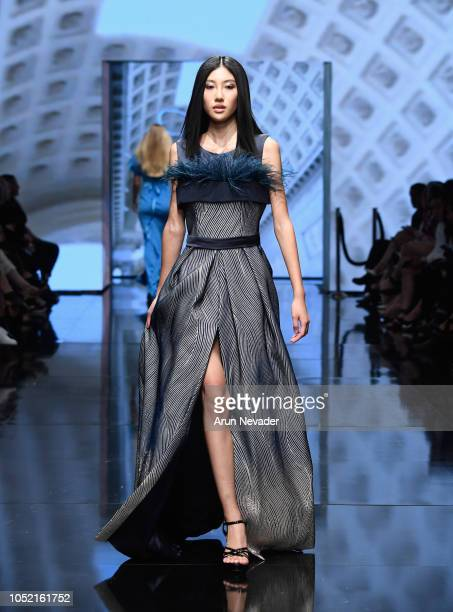 A model walks the runway wearing Atelier Nicola D'Errico at Los Angeles Fashion Week Powered by Art Hearts Fashion LAFW SS/19 at The Majestic...