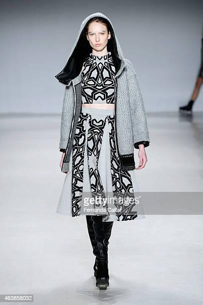 Model walks the runway wearing Aula at the Tokyo Runway Meets New York fashion show during Mercedes-Benz Fashion Week Fall 2015 at The Salon at...
