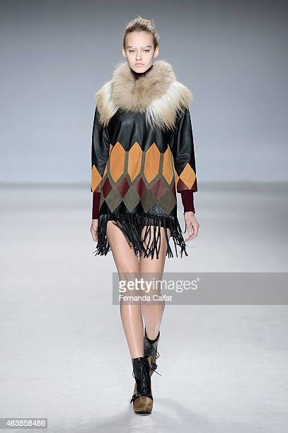 A model walks the runway wearing Aula at the Tokyo Runway Meets New York fashion show during MercedesBenz Fashion Week Fall 2015 at The Salon at...