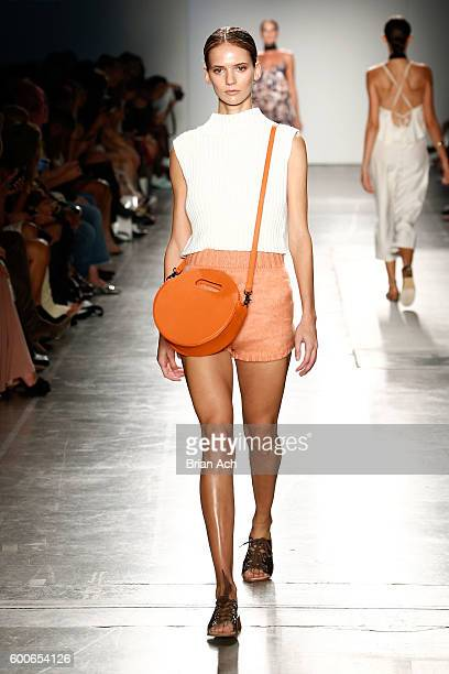 A model walks the runway wearing Bailes at Fashion Palette Australian Swim/Resort New York Fashion Week Spring/Summer 2017 at Pier 59 Studios on...