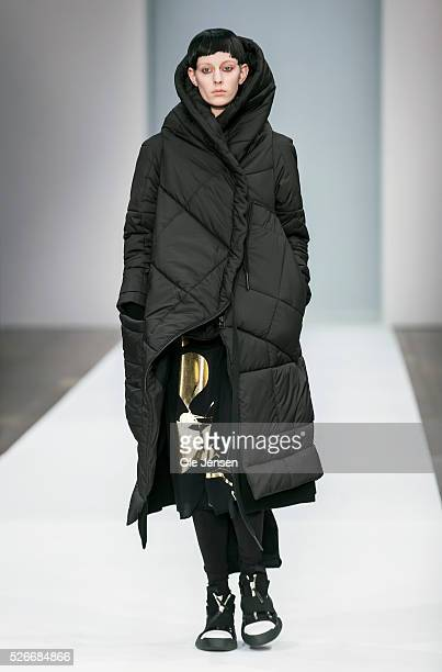 A model walks the runway wearing Barbara I Gongini ' latest collection for men and women during the Copenhagen Fashion Week Autumn/Winter 2016...