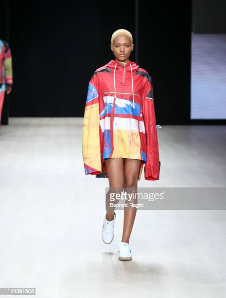 A model walks the runway wearing Bethany Williams during Arise Fashion Week on April 21 2019 in Lagos Nigeria