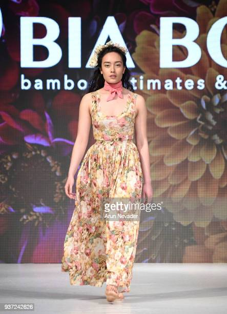A model walks the runway wearing Bia Boro Bamboo at 2018 Vancouver Fashion Week Day 4 on March 22 2018 in Vancouver Canada
