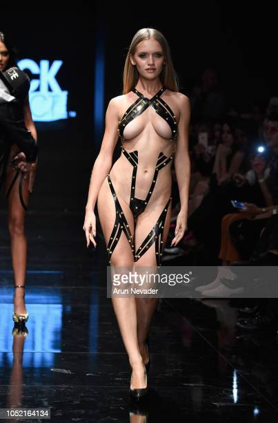A model walks the runway wearing Black Tape Project at Los Angeles Fashion Week Powered by Art Hearts Fashion LAFW SS/19 at The Majestic Downtown on...