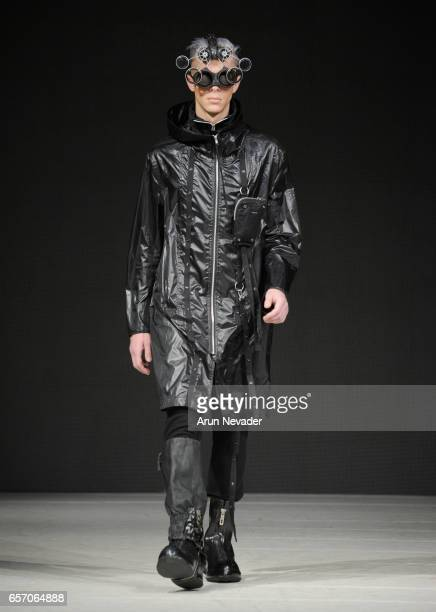 Model walks the runway wearing Blackmerle at Vancouver Fashion Week Fall/Winter 2017 at Chinese Cultural Centre of Greater Vancouver on March 23,...