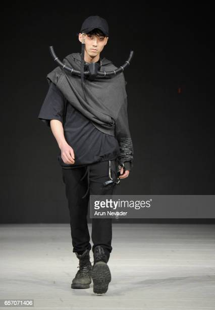 Model walks the runway wearing Blackmerle during day four of Vancouver Fashion Week Fall/Winter 2017 at Chinese Cultural Centre of Greater Vancouver...