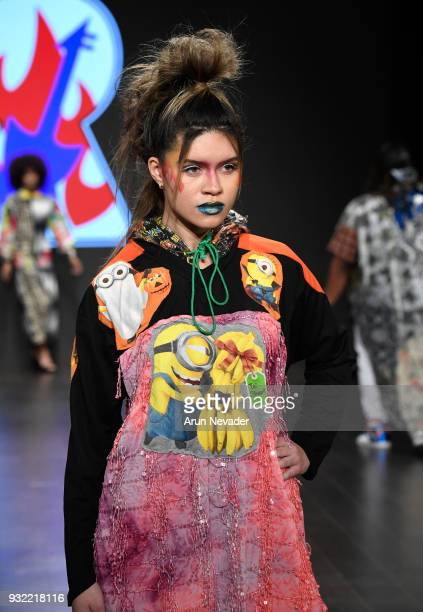 A model walks the runway wearing Burning Guitars Clothing at Los Angeles Fashion Week Powered by Art Hearts Fashion LAFW FW/18 10th Season...