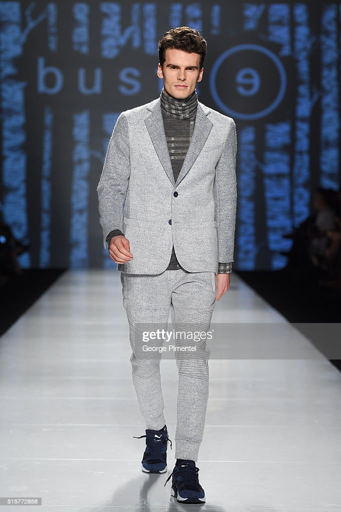 A model walks the runway wearing Bustle 2016 collection during Toronto Fashion Week Fall 2016 at David Pecaut Square on March 15, 2016 in Toronto, Canada.